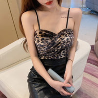 Leopard Cropped Pleuch Camis Tops