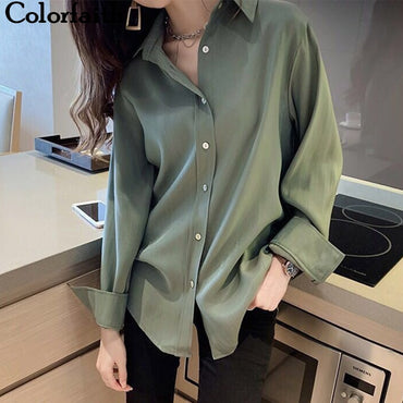 Korean Style Elegant Office Solid White blouses
