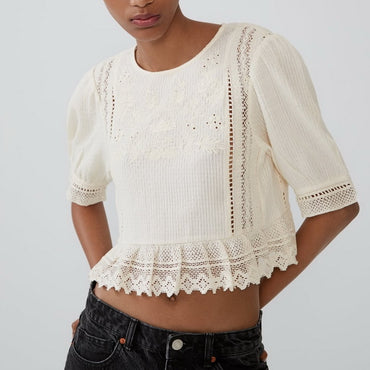 Hollow Out Embroidery Blouses