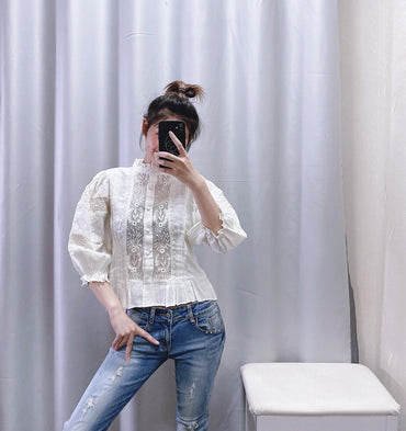 Hollow Out Lace Patchwork Striped Modern Blouses