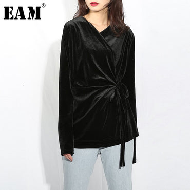 V-collar Long Sleeve Soft Black Velvet Bandage Stitch Loose Blouse