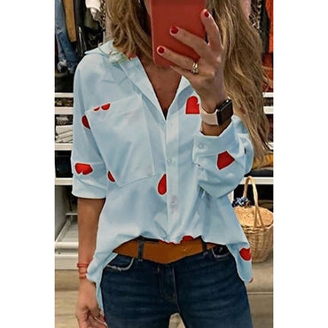 Chic Heart Print Office Shirt Long Sleeve Chiffon Blouse
