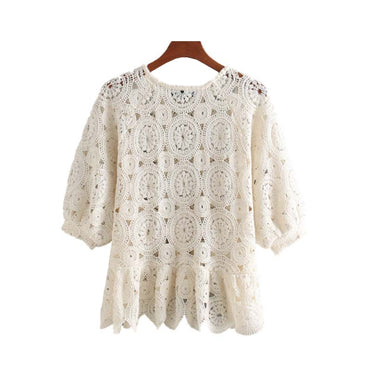 Vintage Stylish Hollow Out Ruffled Lace Blouses