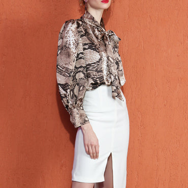 Snake Print Bow Collar Lantern Long Sleeve Blouse