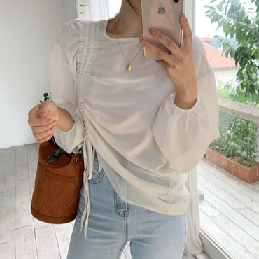Wild Round Neck Solid Color Cotton Blouses