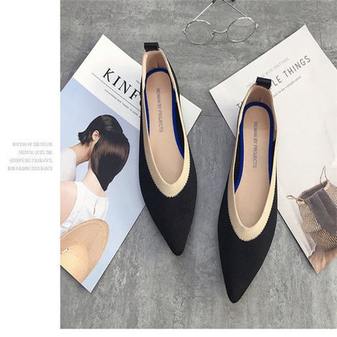 Breathable Knit Pointed  flat Shoes