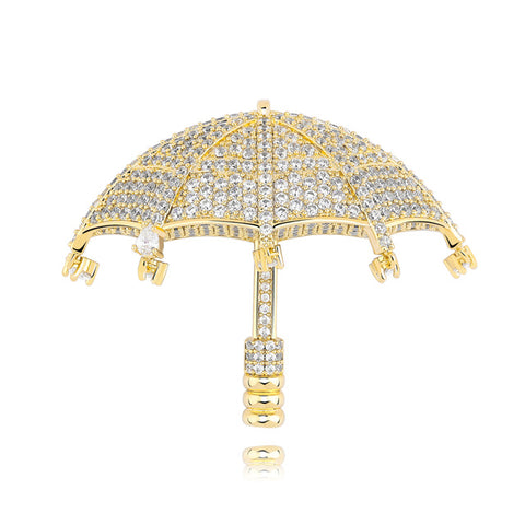 Micro Paved Iced Out Umbrella Pendant Necklace