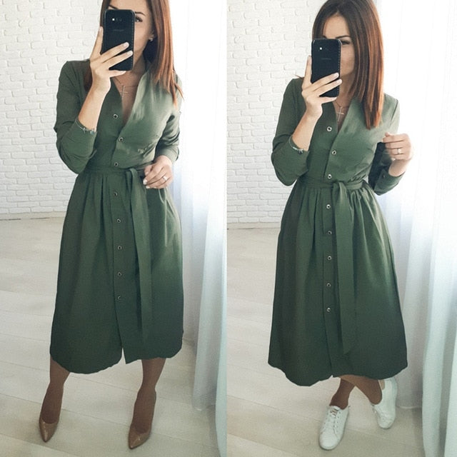 Casual Sashes Button A-line Dress