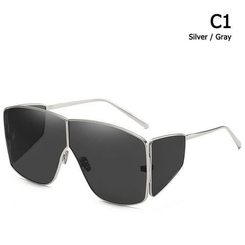 Spector Style Oversized Shield Mask Sunglasses