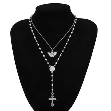 Gothic Multi Layer Angel Cross Pendant Choker Necklace