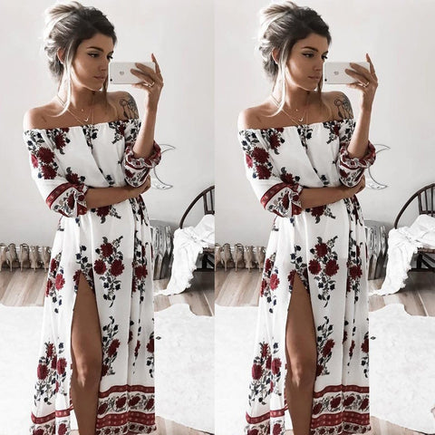 Chiffon Floral Long Sleeve Party Flower Casual Long Maxi Dress