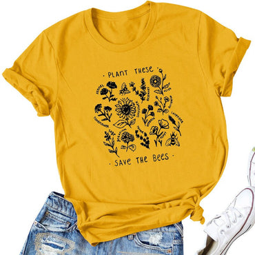 Save The Bees Theme Cute Garden Gold Yellow T-Shirts