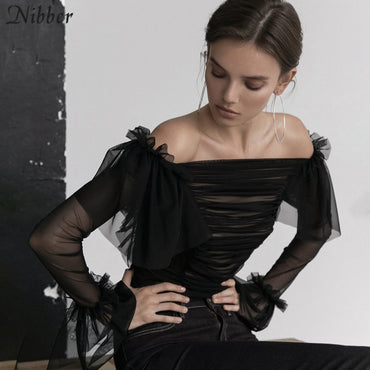 French romantic elegance Mesh ruffled Pure tops  black white off shoulder T-shirts