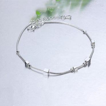 Silver Anklets Bracelet Chain Square Pendant Foot Pulseras Jewelry Package Mail Bracelets & Bangles