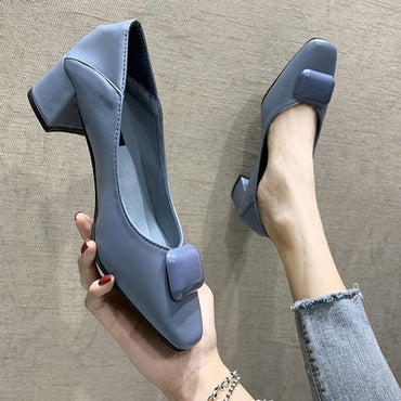 Little Square Toe Pumps Flat Shoes