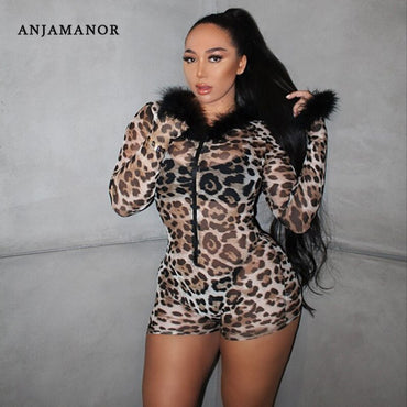 Cheetah Print Sheer Mesh Sexy Bodycon One Piece Jumpsuit