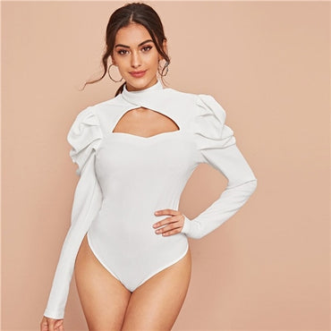 White Cross Neck Cutout Front Puff Sleeve Bodysuit