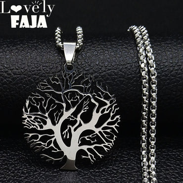 Tree of Life Stainless Steel Statement Necklace