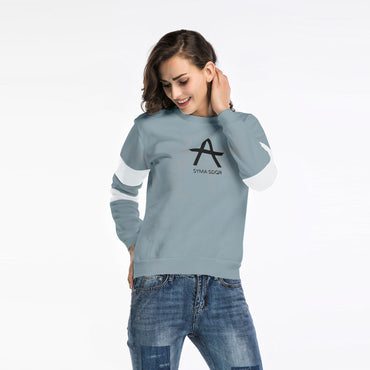 Cotton Round Neck Letter Long-Sleeved T-Shirt