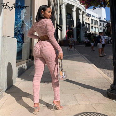 long sleeve ruched hollow out bodycon sexy jumpsuit