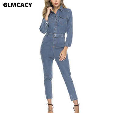 Button Down Long Sleeve Turn Down Collar Denim Jumpsuit