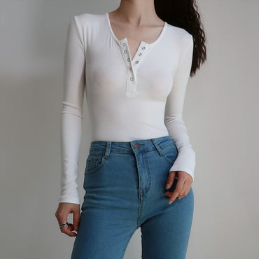 O Neck Button Front Long Sleeve Ribbed Bodysuit