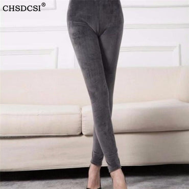 Casual  Elastic Waist Velvet Trousers Thick Warm Legging