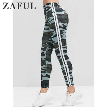 Camouflage Side Striped High Waist Leggings