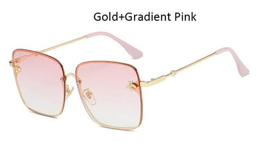 Vintage Gradient Rimless Square Women Retro Sunglasses
