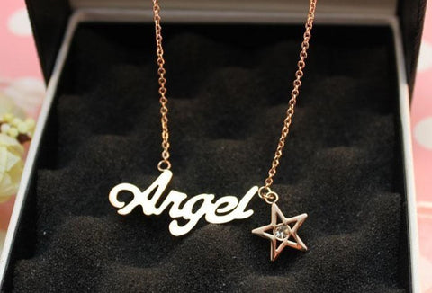 Rose gold color 316l stainless steel angel necklaces