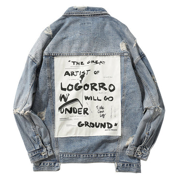 letters printed patch design jean Denim Jackets
