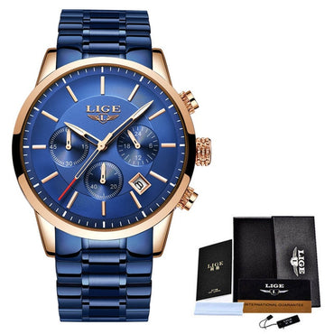 Blue Steel Quartz Chronograph Waterproof Watch