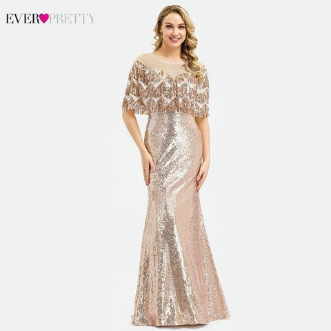 Long O-Neck Sequined Tassel With Jacket Sexy Evening Party Dresses