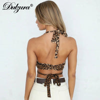 leopard hollow out cross bandage backless festival clothing party clubwear top