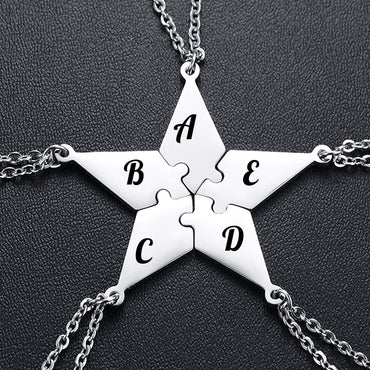 Custom Engraved Pentagram Hexagram Star Puzzle Pendant Necklace
