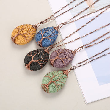 Tree of Life Pattern Colorful Waterdrop  Lava Stone Essential Oil Diffuser Necklace