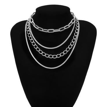 Punk Hip Hop Multi Layer Miami Cuban Choker Necklaces