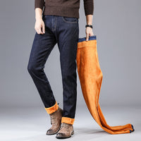 Slim Fit Black Blue Color Elastic Thick Warm Jeans