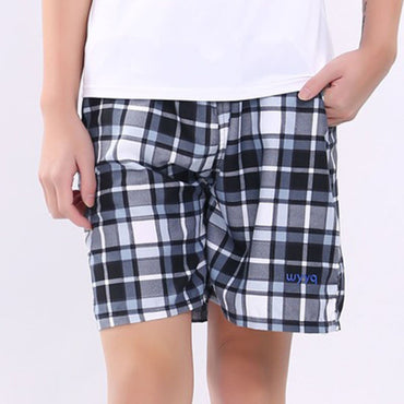 thin casual  plaid pattern elastic band breathable quick-drying shorts