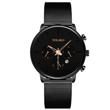 Casual Calendar Clock Luxury Stainless Steel Mesh Belt Quartz Watch