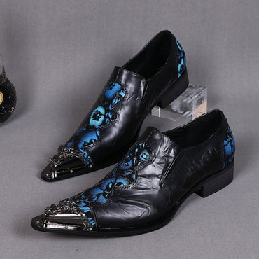 Floral Formal Real Leather Shoes Metal Pointed Toe Oxfords Shoes