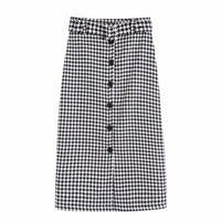 Vintage houndstooth plaid pattern single breasted straight woolen skirt