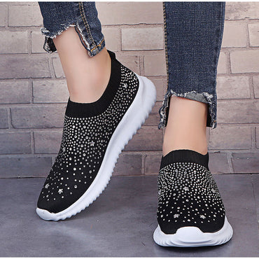Crystal Bling Sneakers Knitting Vulcanized  Shoes & Sneakers