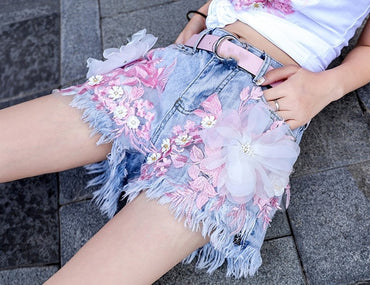Neploe Flower Embroidery Appliques  Denim Shorts