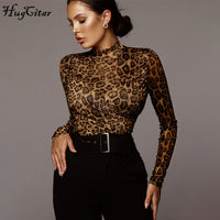 long sleeve leopard print patchwork sexy bodysuit