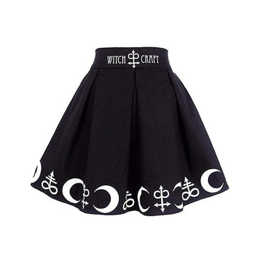 Gothic Punk Witchcraft Magic Spell Symbols Pleated Mini Skirt