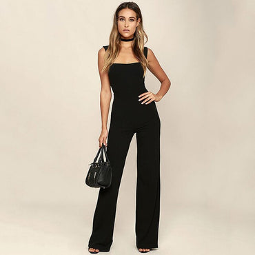 Sexy Sleeveless Overalls Black White Flare Trouser Casual Workout  One Piece Rompers