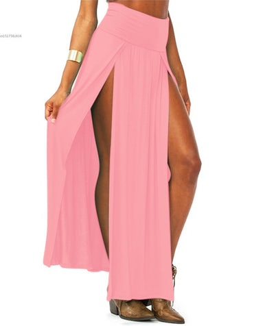 High Waisted Sexy Double Slits Summer Solid Long Maxi Skirt