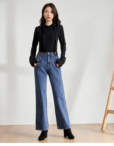 high waist wide leg large straight jeans
