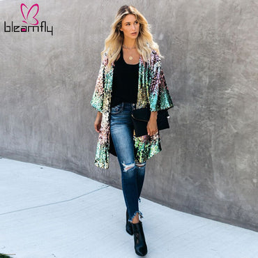 Gradient Sequined  Long Sleeve Open Stitch Loose  jackets & Coats